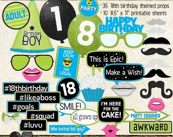 Photo Booth Props, HAPPY 18TH BIRTHDAY, boy, cyan blue, lime green, selfie station, birthday party, printable sheets, instant download