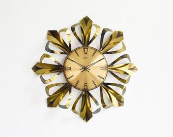 Messing Uhr 60er Jahre, Messing Uhr, Atlanta Wanduhr, Wanduhr 60er Jahre, Küchenuhr, Küchenuhr Messing, Vintage Wanduhr, Wanduhr, Ref: 815