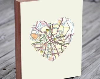 Nashville Art - Nashville Map - Nashville Tennessee Art City State Heart Map - Wood Block Art Print