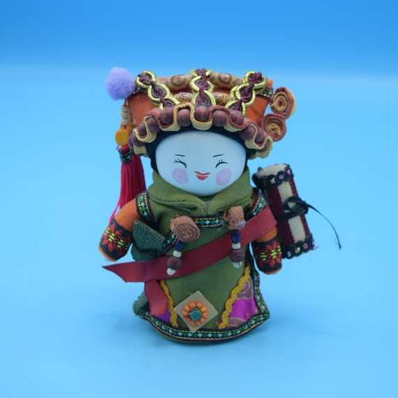 Asian Folk Doll Vintage Chinese Folk Small Doll Decorated Fabric Wood Doll Gift for Her Vanity Dresser Decor Asian Oriental Collectible
