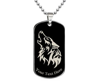 Wolf Necklace, Black Dog Tag Necklace with Engrave Wolf Design,  Black Plated Stainless Steel  Dog Tag Necklace, Father's Day Gift- ssn499