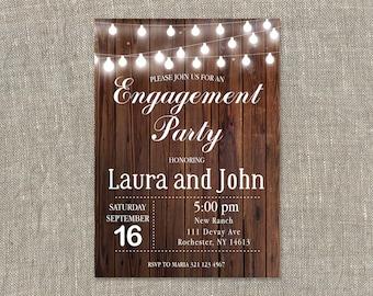 Engagement Party Invitation. Engagement Invitation. Rustic Wood. String Lights. Printable Digital