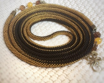 Lariat crochet necklace golden and brown transformer
