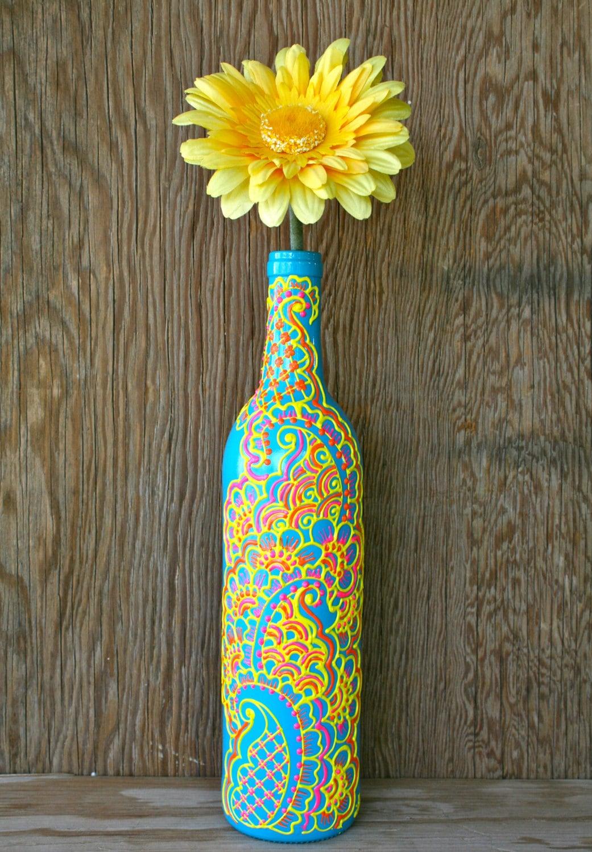 Hand painted wine bottle vase turquoise bottle with sunshine zoom reviewsmspy