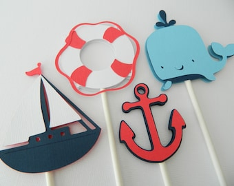 12 Nautical Cupcake Toppers Nautical Baby Shower Sailboat Cupcake Toppers Anchor Nautical Birthday Party • Set of 12