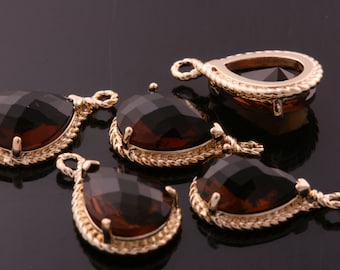 2pcs-19mmX12mmGold Faceted tear drop glass with rope rim pendants-Smoky(M316G-K)