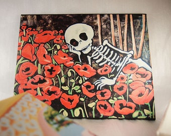 Day of the Dead Art Canvas. Valentine Romantic Skeleton in Poppies from painting. Rockabilly wall art love gift. Cute wall decor Art Print