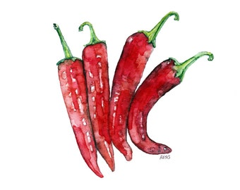 """Hot Pepper Painting - Print from Original Watercolor Painting, """"Cayenne Peppers"""", Kitchen Decor, Red Peppers, Vegetable Print"""