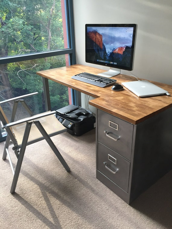 Desk with Refinished 2 drawer Metal Filing Cabinet w/ Solid