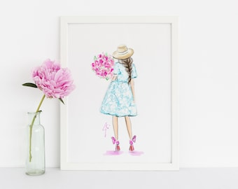 Bloom (Fashion Illustration Print)(Fashion Illustration Art - Fashion Sketch prints - Home Decor - Wall Decor )