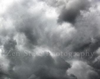 Cloud Photography. Cloudy Skies Photo Print. Sky Photograph. Cloud Watching. Photography Print, Framed Print, or Canvas Print. Home Decor.