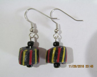 Black Striped Earrings