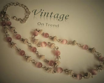 Vintage Silver & Pink Tiger Eye Glass Beaded Necklace