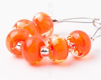 Orange Fizz Spacer Swirl - Handmade Lampwork Glass Beads by Sarah Downton
