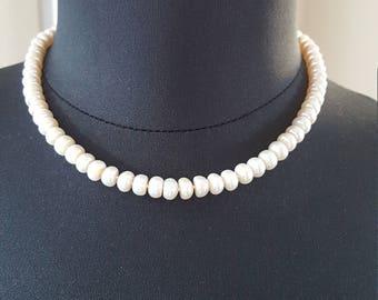 "18"" 8-9 mm Freshwater Pearl Necklace   Bridal Jewelry   Wedding Jewelry   Pearl Grade AAAA   925 Sterling   June Birthstone"