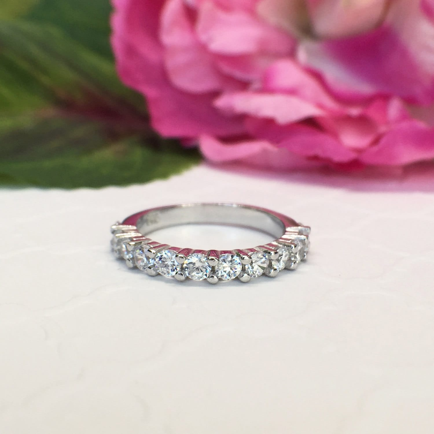 3/4 ctw Half Eternity Ring 12 Stone Wedding Band Bridal