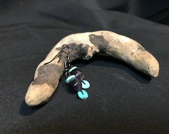 Amethyst and Turquoise Bead Dangle Earrings