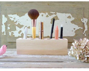 Cosmetic Makeup, Organizer Brush Holder, Organizer Wood Countertop, Gift for woman,wood makeup organizer, makeup brush organizer,