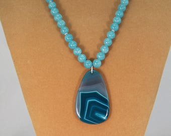 Blue quartz necklace, bold necklace, bohemian statement necklace, gift for her.