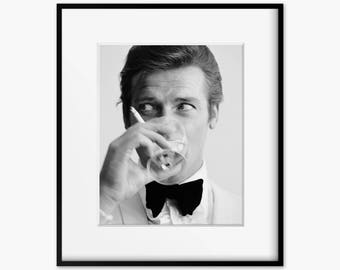 Roger Moore as James Bond Black and White Print