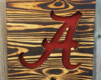 Alabama Crimson Tide Wood Burned Sign - Reclaimed Wood