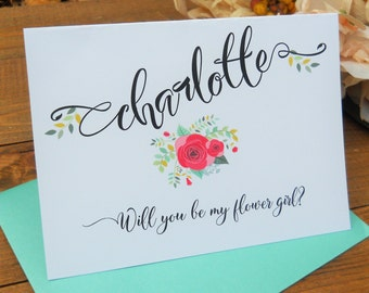 FLOWER GIRL Card,  Will You Be My Flower Girl, Flower Girl Gift, Will You Be Our Flower Girl Card, Flower Girl Proposal, Ask Flower Girl