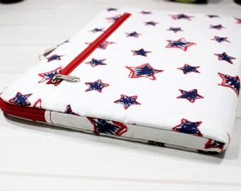 Macbook Air case, Macbook sleeve 12, 11 inch laptop case, zippered Macbook case, laptop case with zipper, navy blue, white laptop sleeve