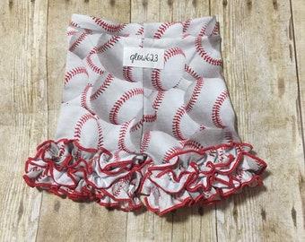 Baseball shorties- ruffle shorties- baseball shorts  -shorties- icings