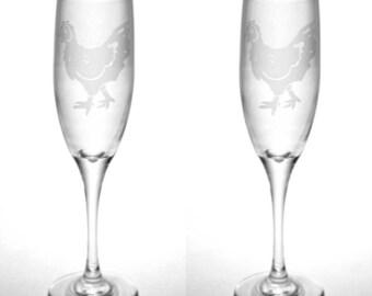 Chicken Champagne Flute - hen glassware