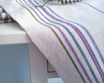 Rustic Antique European Hungarian Grainsack Organic natural Hemp Linen table runner with lilac green blue stripe by the yard