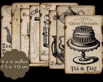 8 Vintage Tea Time Tags
