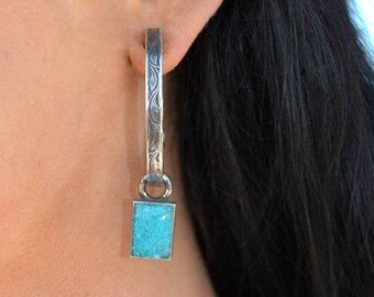 Rockin Out Jewelry - Large Hoop Earring with chip Inlay Turquoise Drop Charm