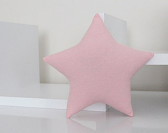 Mini STAR PILLOW CUSHION - Solid Cotton - Rose Pink - Nursery Baby Room Decor Decoration - Soft Toy