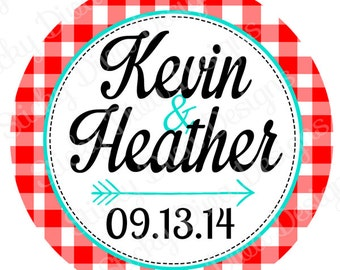 PERSONALIZED STICKERS - Custom Wedding BBQ Picnic Monogrammed Labels  -  Round Gloss Labels