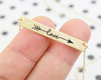Boho Bohemian love gold plated Love bracelet women jewelry gift boho chic arrow Word romantic