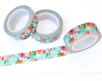 Turquoise Floral Washi Tape. 15mm x 10m. Colorful Washi Tape. Pretty Washi Tape. Flower Washi Tape. Planner Accessories