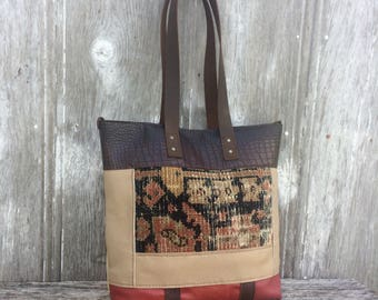 Carpet Bag Leather Patchwork - Carpetbag Tote from Vintage Rug and Cowhide Leather,  Handmade, Gift for Her,  Color Block Bag by Stacy Leigh