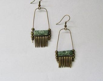 African tribal chandelier brass dangle earrings