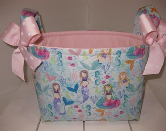 Ready to Ship!! Aqua Blue Pink Purple Mermaid Sparkle Organizer bin / Fabric Basket / Small Diaper Caddy -Personalization Available