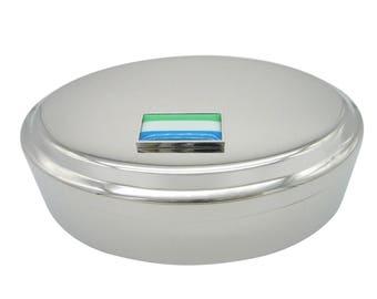 Thin Bordered Sierra Leone Flag Pendant Oval Trinket Jewelry Box
