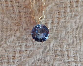 Aquamarine Solitaire Necklace, 8mm Aquamarine Pendant, Aquamarine & Sterling Silver Necklace, March Birthstone, Lab Created Aquamarine