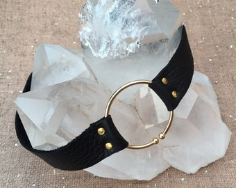 The Galanos limited edition black leather choker with gold ring by Ankh By Racquel