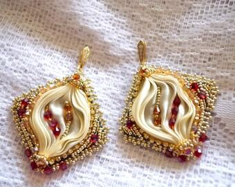 Silk shibori ribbon earrings