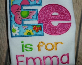 Initial Applique of your child's letter and name