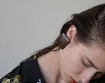 square wood earrings / geometric earrings / 1961a