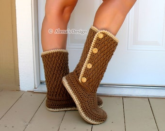 Crochet Pattern 137 Buttoned Women's Boots Crochet Boot Pattern Crochet Patterns Slipper Pattern Adult Winter Brown Buttoned Boots