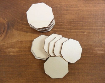 "Octagon Stop Sign Wood Tiles 1 1/2"" (38mm) x 1 5/8"" (41.2mm) x 1/8"" (3mm) Laser Cut Wood Shapes - 25 Pieces"