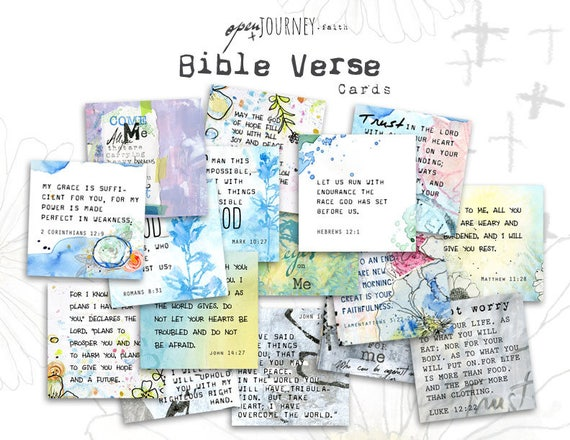 Inspirational Bible Verse Cards and Illustrations- set of 24