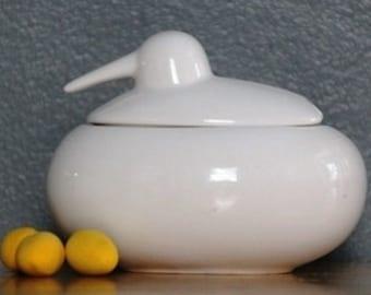 PO: ceramic Bird salt cellar sugar bowl white designer