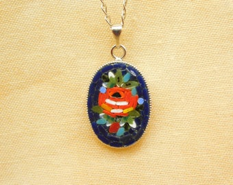 Micro mosaic pendant necklace - Red rose on blue background